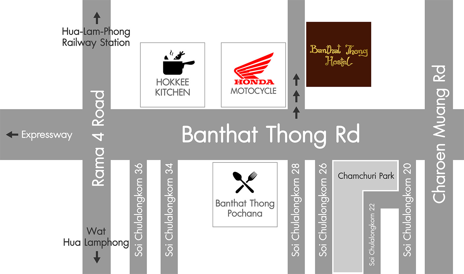 Banthat Thong Hostel Map